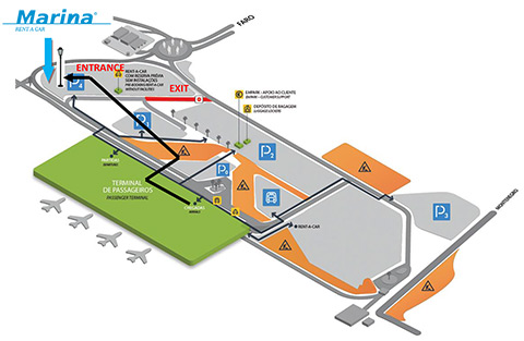 Marina Rent-a-Car Location on the Airport - Localização da Marina Rent-a-Car no Aeroporto